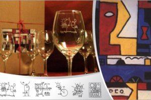 6 copas de vino con arte de Torres García en Luna y Compañía $490